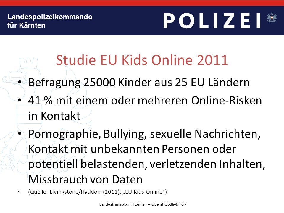 Landespolizeikommando für Kärnten Fragestellungen Wie hoch ist der %-Satz der Kinder (9-16) die wenigstens wöchentlich Online gehen.