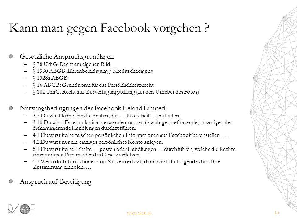 Kann man gegen Facebook vorgehen .