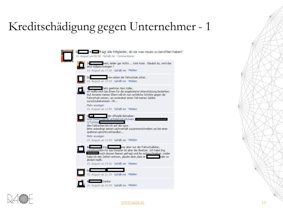 Kreditschädigung gegen Unternehmer - 1 www.raoe.at14