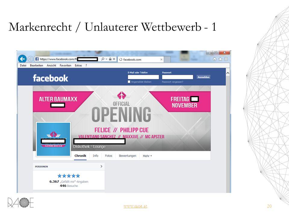 Markenrecht / Unlauterer Wettbewerb - 1 www.raoe.at20