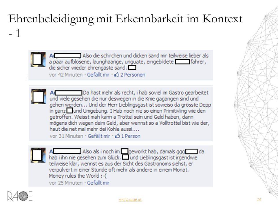 Ehrenbeleidigung mit Erkennbarkeit im Kontext - 1 www.raoe.at26
