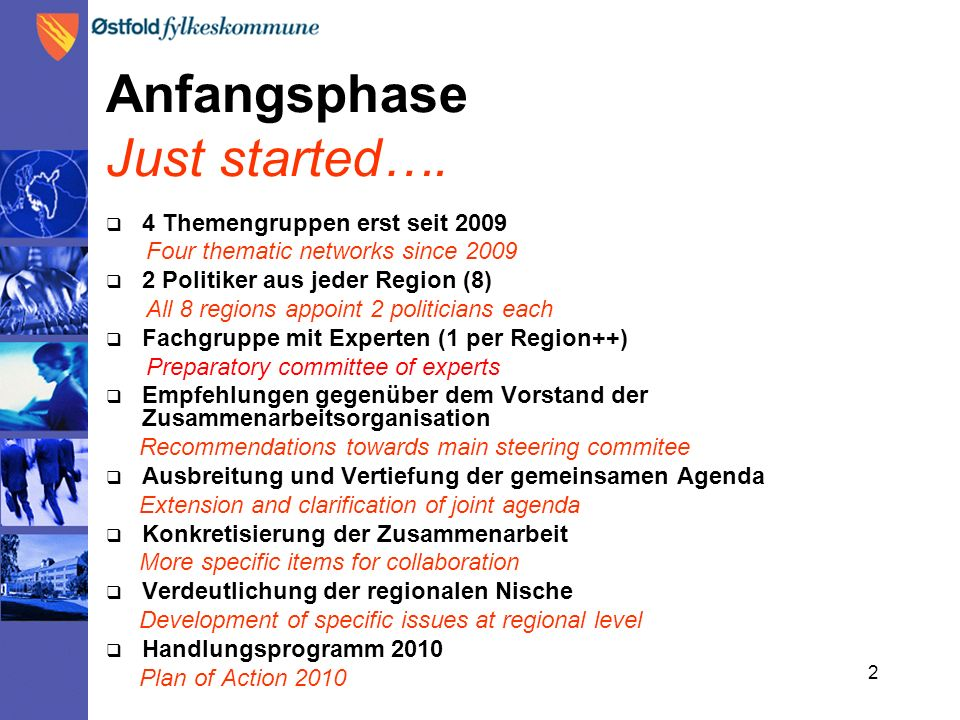 2 Anfangsphase Just started….