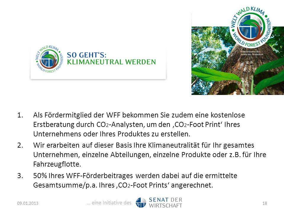 … eine Initiative des 1.Als Fördermitglied der WFF bekommen Sie zudem eine kostenlose Erstberatung durch CO 2 -Analysten, um den 'CO 2 -Foot Print' Ihres Unternehmens oder Ihres Produktes zu erstellen.