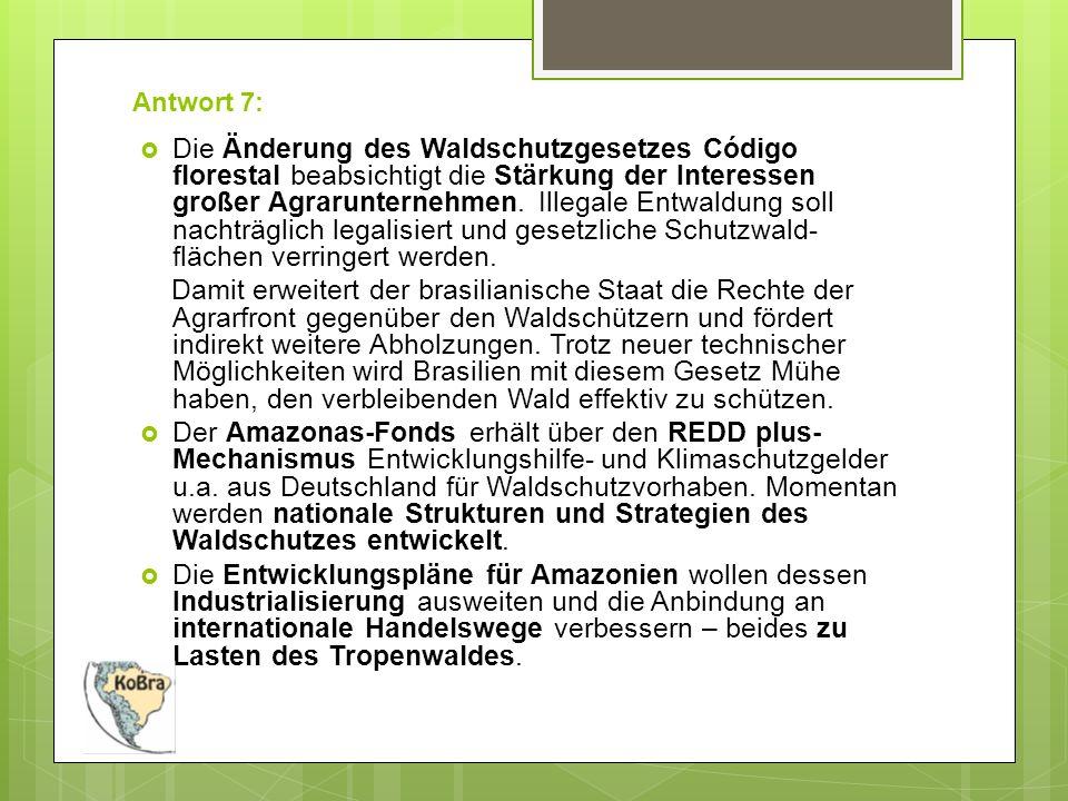 Antwort 7:  Die Änderung des Waldschutzgesetzes Código florestal beabsichtigt die Stärkung der Interessen großer Agrarunternehmen.