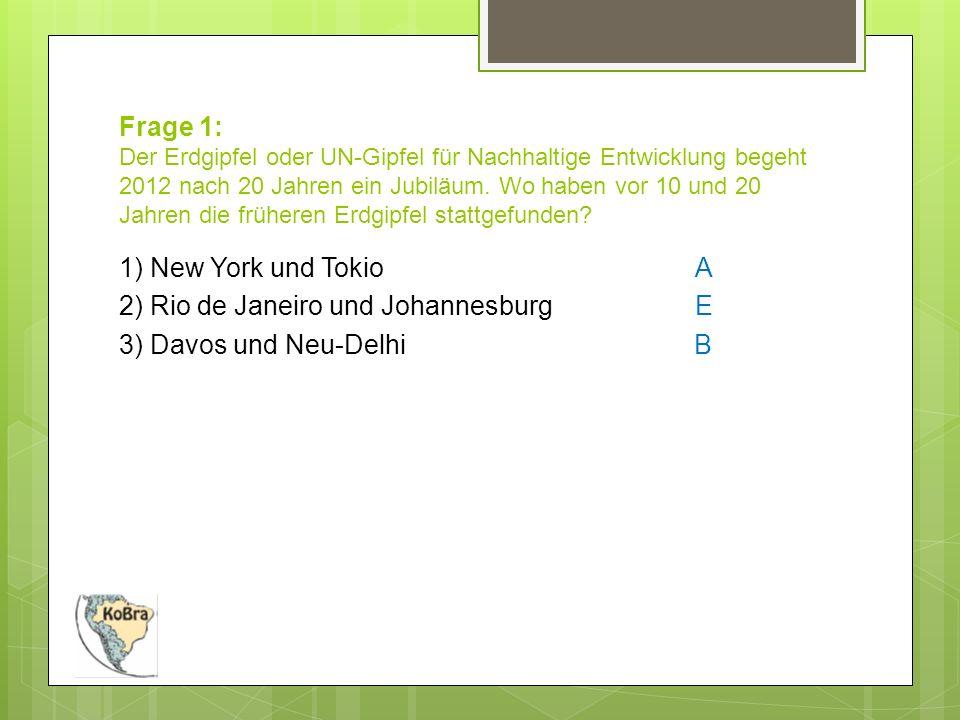 Frage 1: Der Erdgipfel oder UN-Gipfel für Nachhaltige Entwicklung begeht 2012 nach 20 Jahren ein Jubiläum.