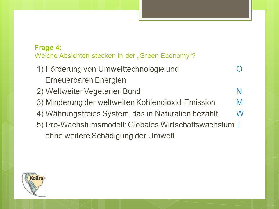 """Frage 4: Welche Absichten stecken in der """"Green Economy ."""