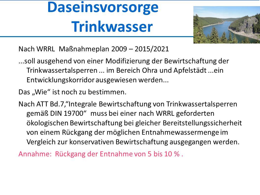 Daseinsvorsorge Trinkwasser Nach WRRL Maßnahmeplan 2009 – 2015/2021...soll ausgehend von einer Modifizierung der Bewirtschaftung der Trinkwassertalsperren...