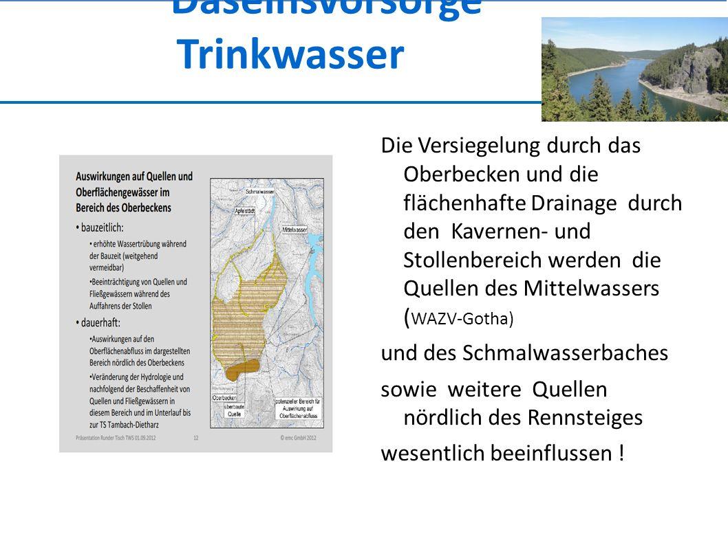 Daseinsvorsorge Trinkwasser Die Versiegelung durch das Oberbecken und die flächenhafte Drainage durch den Kavernen- und Stollenbereich werden die Quellen des Mittelwassers ( WAZV-Gotha) und des Schmalwasserbaches sowie weitere Quellen nördlich des Rennsteiges wesentlich beeinflussen !
