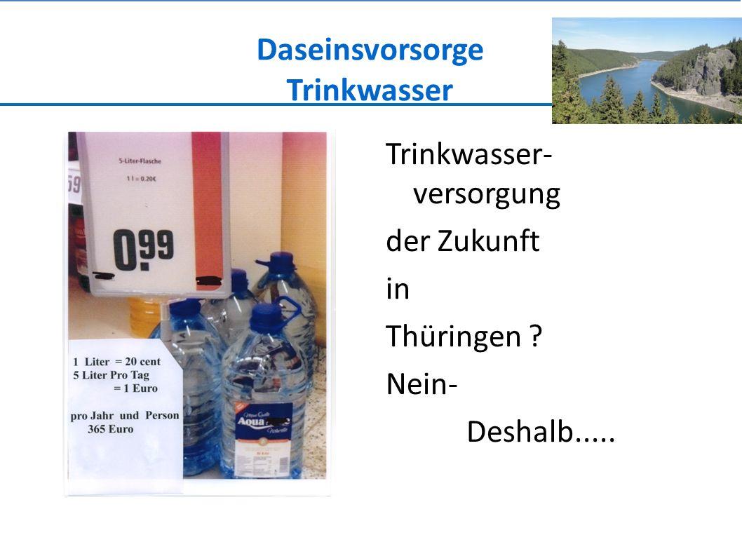 Daseinsvorsorge Trinkwasser Trinkwasser- versorgung der Zukunft in Thüringen ? Nein- Deshalb.....