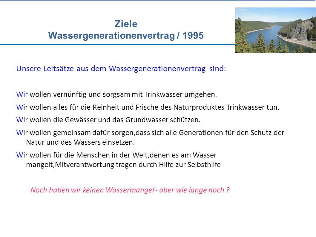 Ziele Wassergenerationenvertrag / 1995 Unsere Leitsätze aus dem Wassergenerationenvertrag sind: Wir wollen vernünftig und sorgsam mit Trinkwasser umgehen.