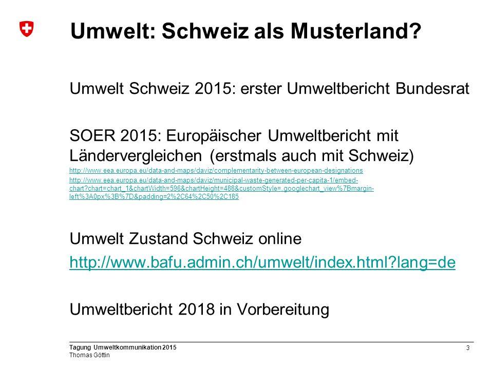 3 Tagung Umweltkommunikation 2015 Thomas Göttin Umwelt: Schweiz als Musterland.