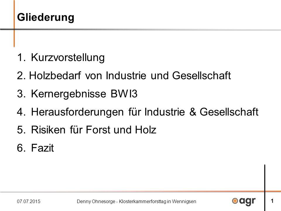 Gliederung 1.Kurzvorstellung 2. Holzbedarf von Industrie und Gesellschaft 3.