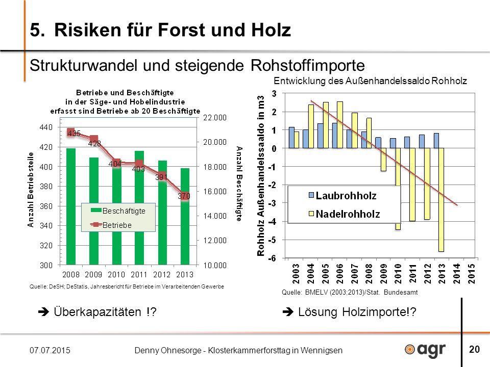 5.Risiken für Forst und Holz Strukturwandel und steigende Rohstoffimporte 07.07.2015Denny Ohnesorge - Klosterkammerforsttag in Wennigsen 20  Überkapazitäten !.
