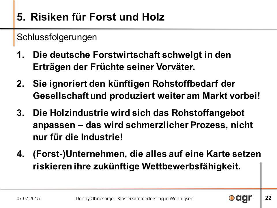 5.Risiken für Forst und Holz 1.Die deutsche Forstwirtschaft schwelgt in den Erträgen der Früchte seiner Vorväter.