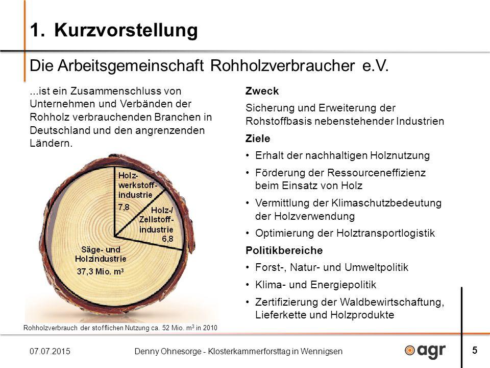 1. Kurzvorstellung Die Arbeitsgemeinschaft Rohholzverbraucher e.V.