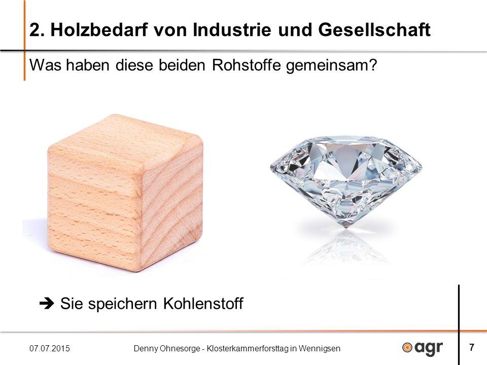 2. Holzbedarf von Industrie und Gesellschaft Was haben diese beiden Rohstoffe gemeinsam.