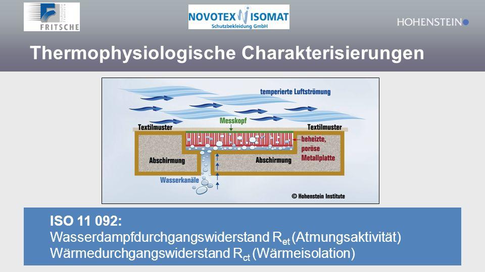 ISO 11 092: Wasserdampfdurchgangswiderstand R et (Atmungsaktivität) Wärmedurchgangswiderstand R ct (Wärmeisolation) Thermophysiologische Charakterisie