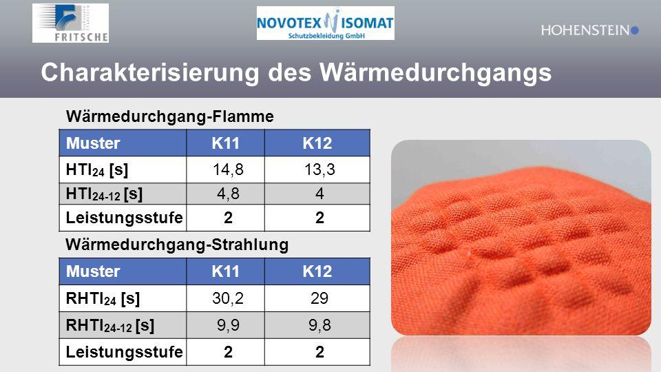 Charakterisierung des Wärmedurchgangs Wärmedurchgang-Flamme MusterK11K12 HTI 24 [s]14,813,3 HTI 24-12 [s]4,84 Leistungsstufe22 Wärmedurchgang-Strahlung MusterK11K12 RHTI 24 [s]30,229 RHTI 24-12 [s]9,99,8 Leistungsstufe22