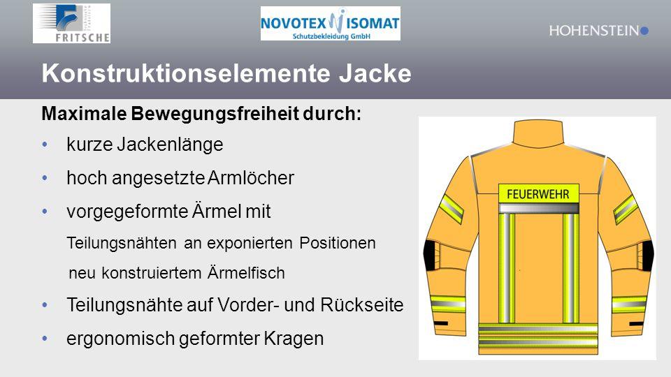 Konstruktionselemente Jacke Maximale Bewegungsfreiheit durch: kurze Jackenlänge hoch angesetzte Armlöcher vorgegeformte Ärmel mit Teilungsnähten an exponierten Positionen neu konstruiertem Ärmelfisch Teilungsnähte auf Vorder- und Rückseite ergonomisch geformter Kragen