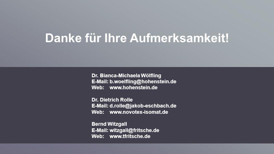 Danke für Ihre Aufmerksamkeit! Dr. Bianca-Michaela Wölfling E-Mail: b.woelfling@hohenstein.de Web: www.hohenstein.de Dr. Dietrich Rolle E-Mail: d.roll