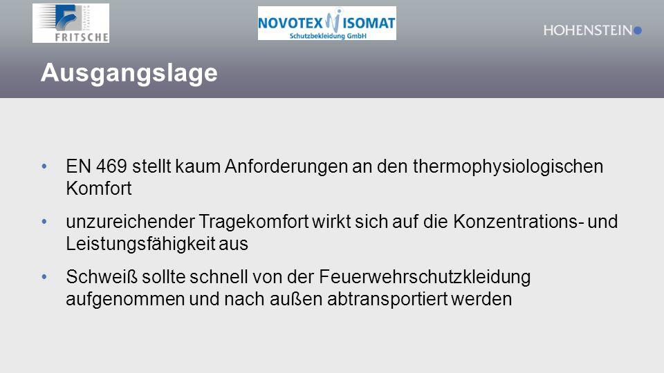 Ausgangslage EN 469 stellt kaum Anforderungen an den thermophysiologischen Komfort unzureichender Tragekomfort wirkt sich auf die Konzentrations- und
