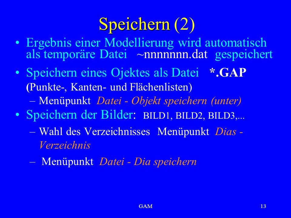 GAM13 Speichern Speichern (2) Ergebnis einer Modellierung wird automatisch als temporäre Datei ~nnnnnnn.dat gespeichert Speichern eines Ojektes als Datei *.GAP (Punkte-, Kanten- und Flächenlisten) –Menüpunkt Datei - Objekt speichern (unter) Speichern der Bilder: BILD1, BILD2, BILD3,...
