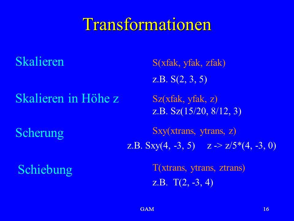 GAM16 Transformationen Skalieren z.B. S(2, 3, 5) S(xfak, yfak, zfak) Skalieren in Höhe z Sz(xfak, yfak, z) z.B. Sz(15/20, 8/12, 3) Scherung Sxy(xtrans