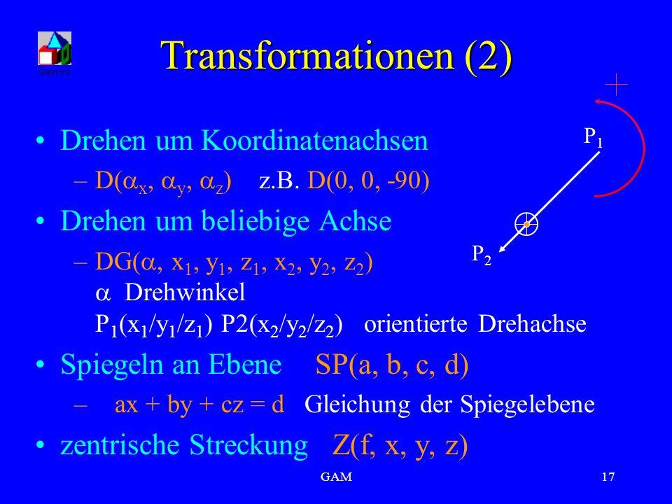 GAM17 Transformationen (2) Drehen um Koordinatenachsen –D(  x,  y,  z )z.B. D(0, 0, -90) Drehen um beliebige Achse –DG( , x 1, y 1, z 1, x 2, y 2,
