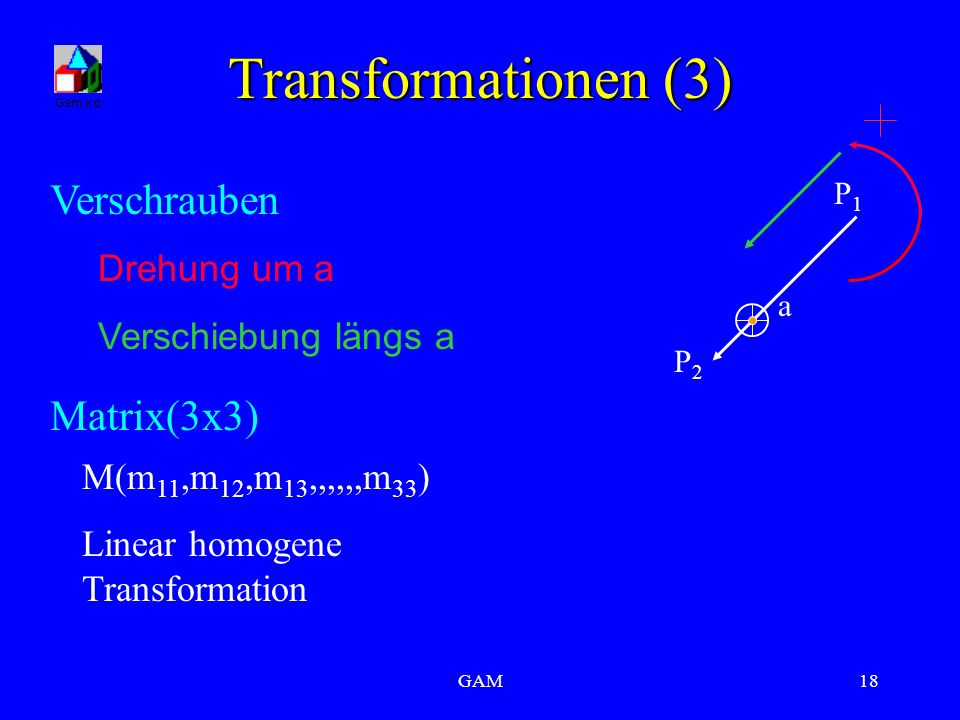 GAM18 Transformationen (3) P2P2 P1P1 a Drehung um a Verschiebung längs a Matrix(3x3) M(m 11,m 12,m 13,,,,,,m 33 ) Linear homogene Transformation Versc
