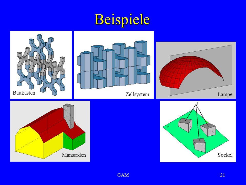 GAM21 Beispiele Mansarden ZellsystemLampe Baukasten Sockel