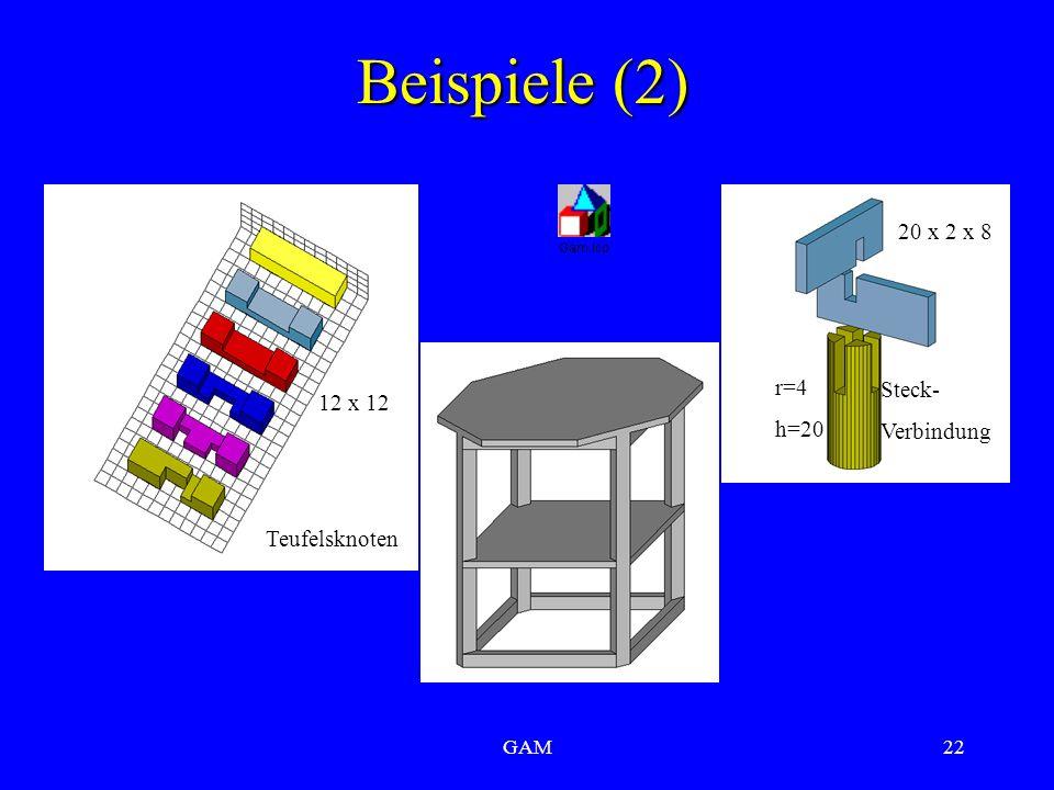 GAM22 Beispiele (2) Teufelsknoten Steck- Verbindung 12 x 12 r=4 h=20 20 x 2 x 8