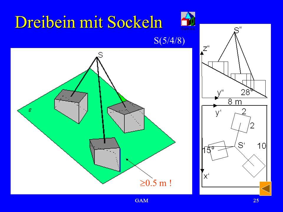 GAM25 Dreibein mit Sockeln S(5/4/8)  0.5 m !