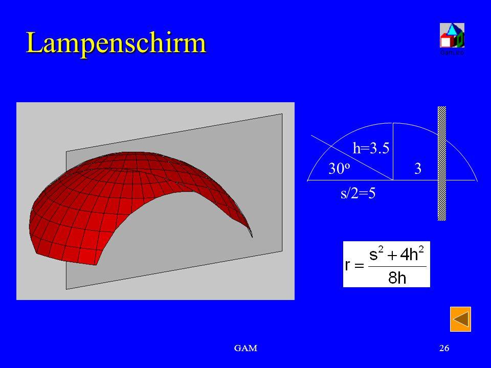 GAM26 Lampenschirm s/2=5 h=3.5 330 o