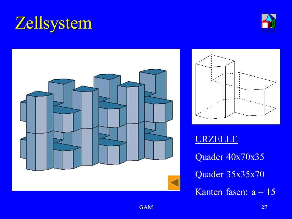 GAM27 Zellsystem URZELLE Quader 40x70x35 Quader 35x35x70 Kanten fasen: a = 15