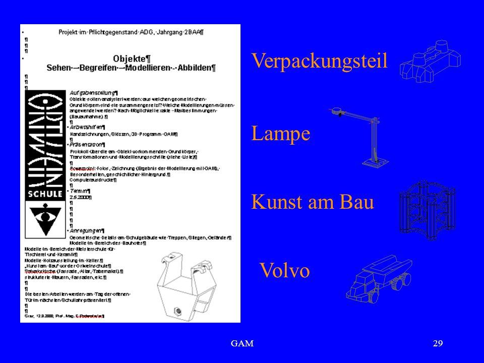 GAM29 Verpackungsteil Lampe Kunst am Bau Volvo