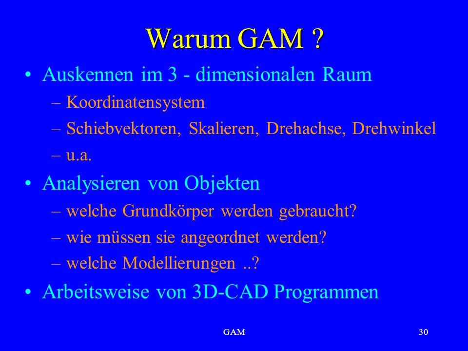 GAM30 Warum GAM ? Auskennen im 3 - dimensionalen Raum –Koordinatensystem –Schiebvektoren, Skalieren, Drehachse, Drehwinkel –u.a. Analysieren von Objek