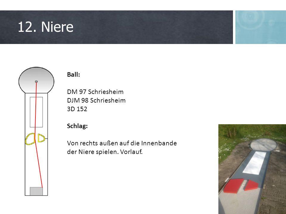 12. Niere Ball: DM 97 Schriesheim DJM 98 Schriesheim 3D 152 Schlag: Von rechts außen auf die Innenbande der Niere spielen. Vorlauf.