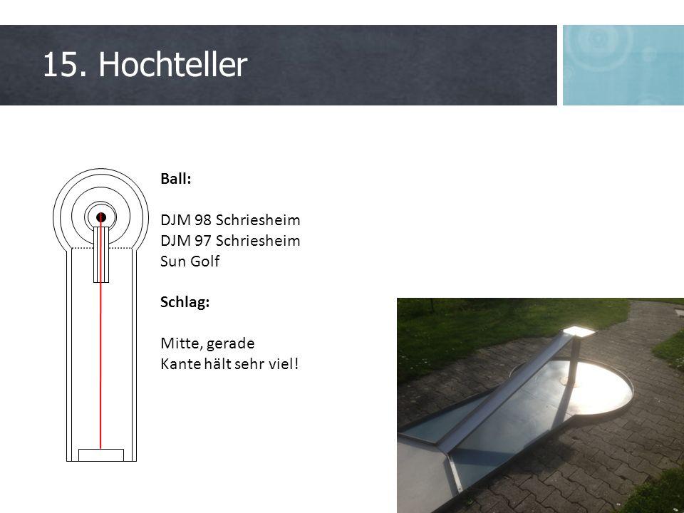 15. Hochteller Ball: DJM 98 Schriesheim DJM 97 Schriesheim Sun Golf Schlag: Mitte, gerade Kante hält sehr viel!