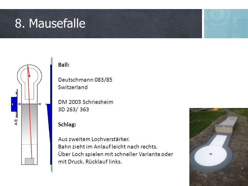 8. Mausefalle Ball: Deutschmann 083/85 Switzerland DM 2003 Schriesheim 3D 263/ 363 Schlag: Aus zweitem Lochverstärker. Bahn zieht im Anlauf leicht nac