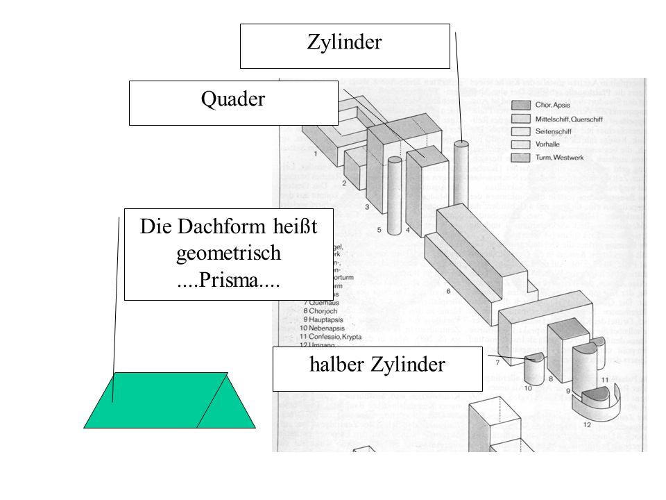 Zylinder Quader halber Zylinder Die Dachform heißt geometrisch....Prisma....