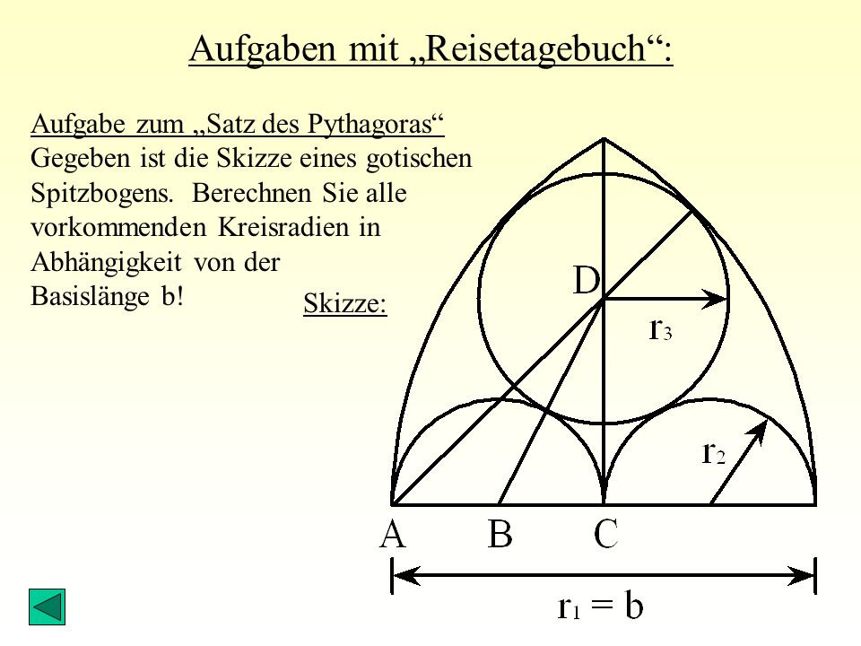 """Aufgaben mit """"Reisetagebuch : Aufgabe zum """"Satz des Pythagoras Gegeben ist die Skizze eines gotischen Spitzbogens."""