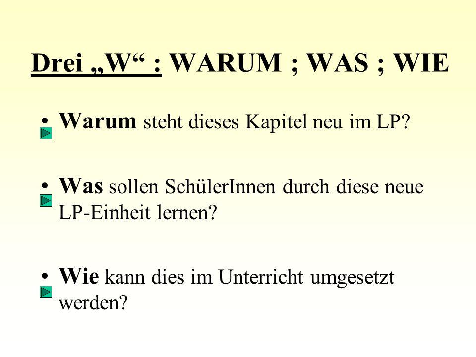 """Drei """"W : WARUM ; WAS ; WIE Warum steht dieses Kapitel neu im LP."""