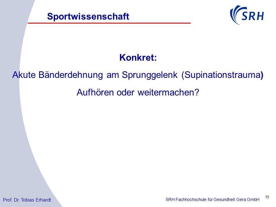 SRH Fachhochschule für Gesundheit Gera GmbH Konkret: Akute Bänderdehnung am Sprunggelenk (Supinationstrauma) Aufhören oder weitermachen.