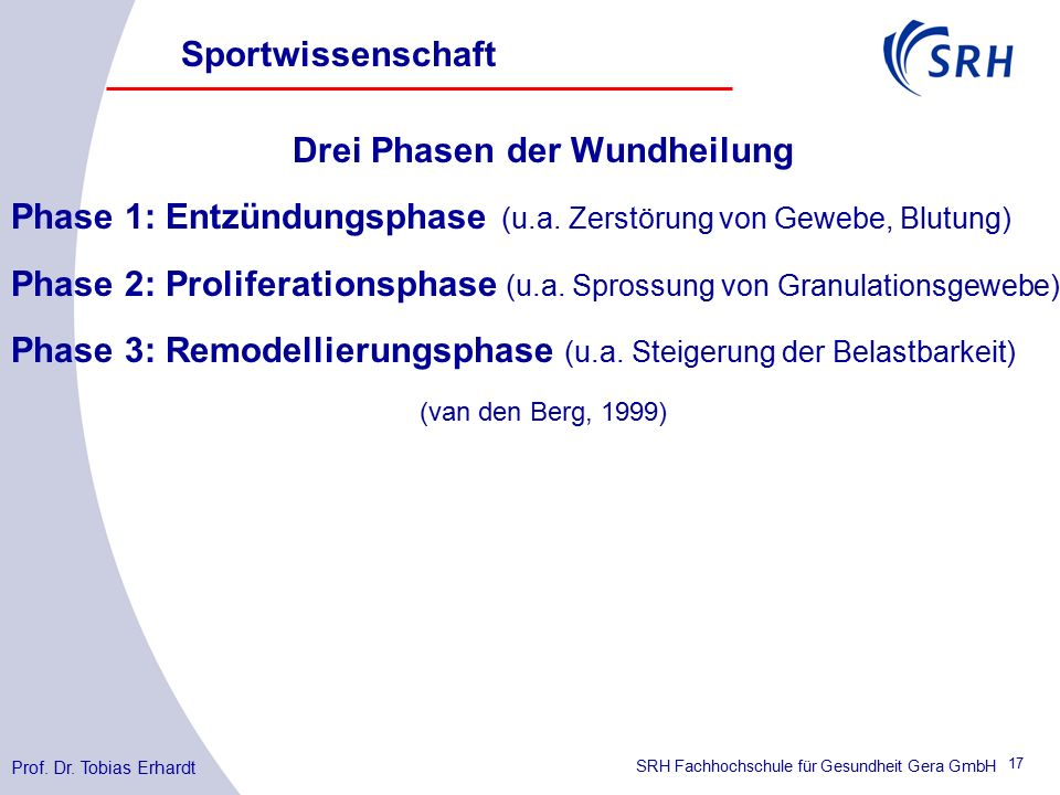 SRH Fachhochschule für Gesundheit Gera GmbH Drei Phasen der Wundheilung Phase 1: Entzündungsphase (u.a.
