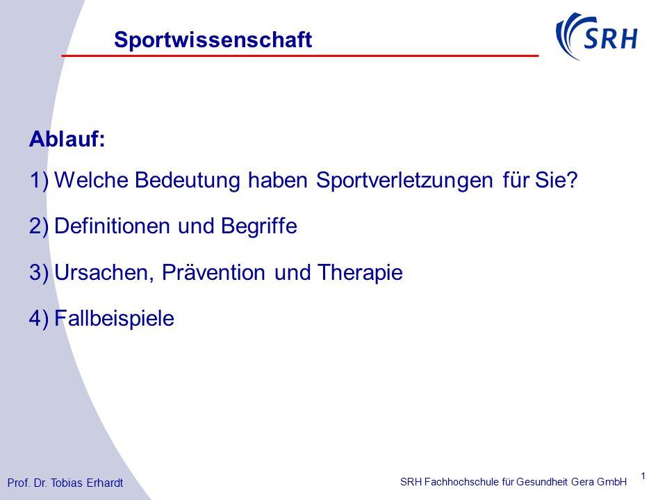 SRH Fachhochschule für Gesundheit Gera GmbH Ablauf: 1)Welche Bedeutung haben Sportverletzungen für Sie.