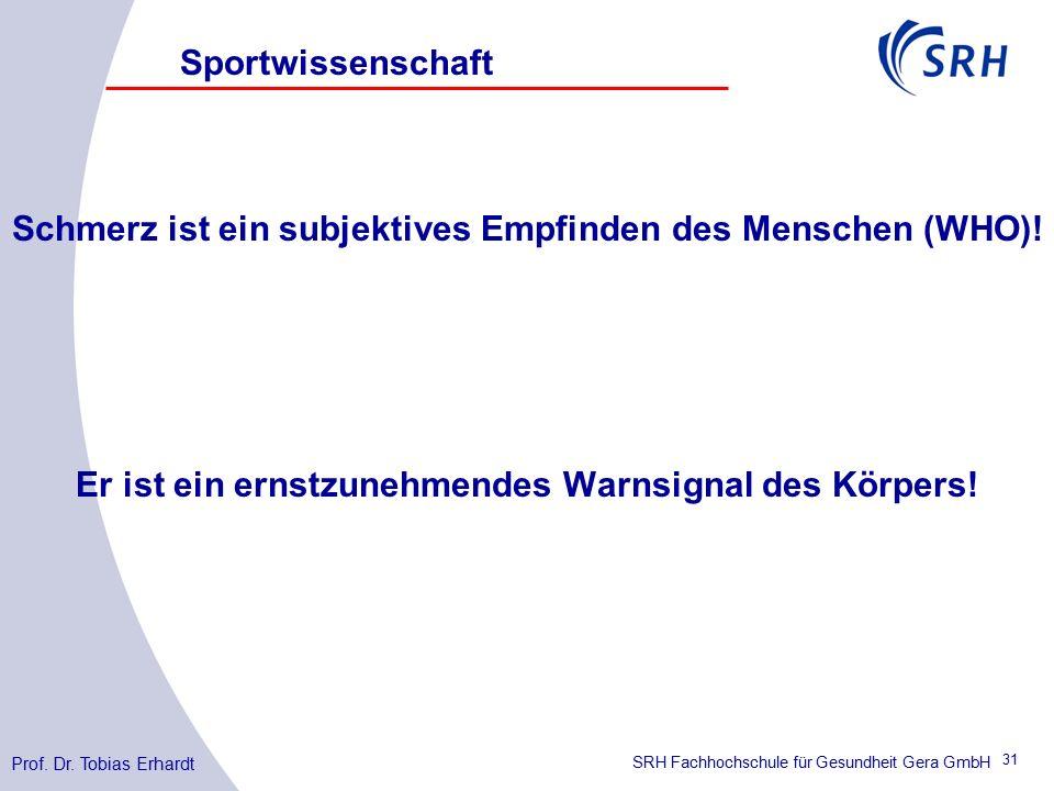 SRH Fachhochschule für Gesundheit Gera GmbH Schmerz ist ein subjektives Empfinden des Menschen (WHO).