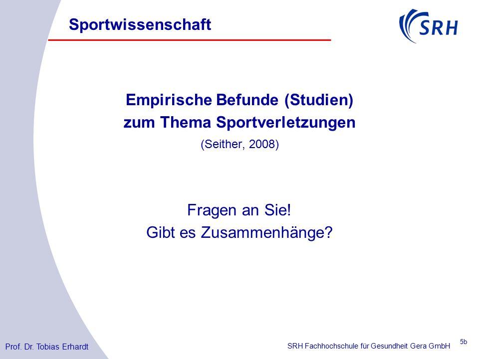SRH Fachhochschule für Gesundheit Gera GmbH Empirische Befunde (Studien) zum Thema Sportverletzungen (Seither, 2008) Fragen an Sie.