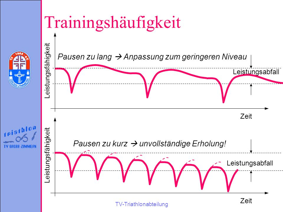 TV-Triathlonabteilung Trainingshäufigkeit Zeit Leistungsfähigkeit Leistungsabfall Pausen zu lang  Anpassung zum geringeren Niveau Zeit Leistungsfähig