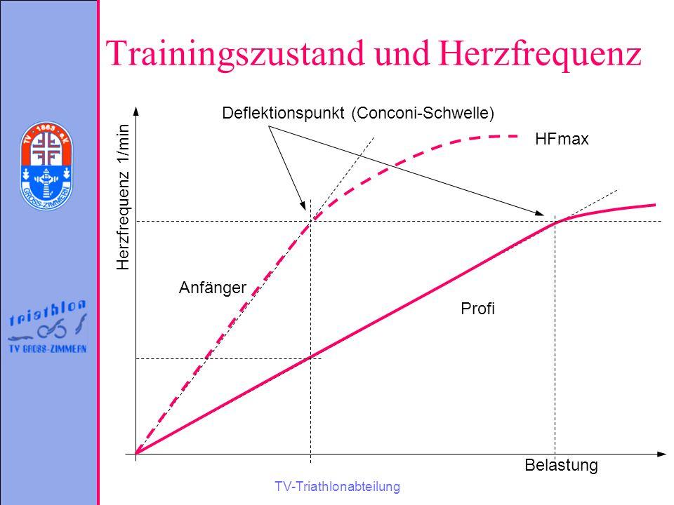 TV-Triathlonabteilung Trainingszustand und Herzfrequenz Herzfrequenz 1/min Belastung HFmax Anfänger Profi Deflektionspunkt (Conconi-Schwelle)