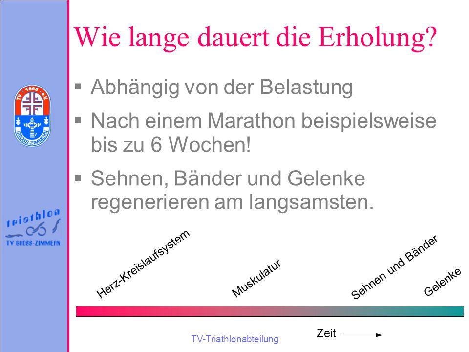 TV-Triathlonabteilung Wie lange dauert die Erholung?  Abhängig von der Belastung  Nach einem Marathon beispielsweise bis zu 6 Wochen!  Sehnen, Bänd